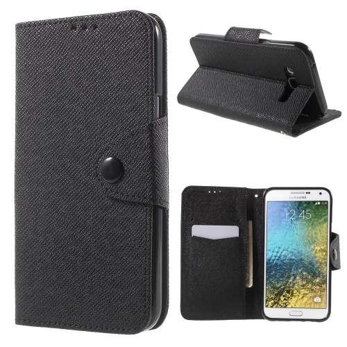Samsung Galaxy E7 Hoesje Zwart met Opbergvakjes (SM-E700F)