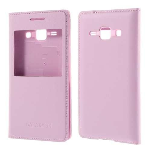 Samsung Galaxy J1 Hoesje met Venster Lichtroze