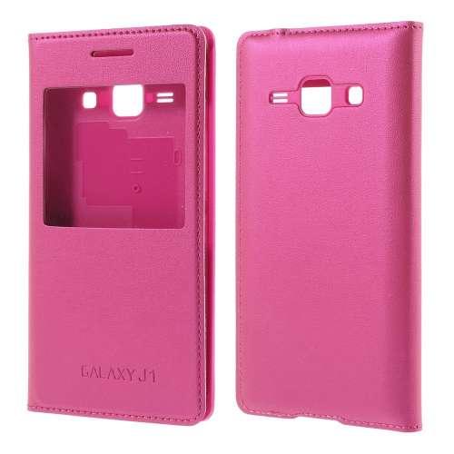 Samsung Galaxy J1 Hoesje met Venster Roze