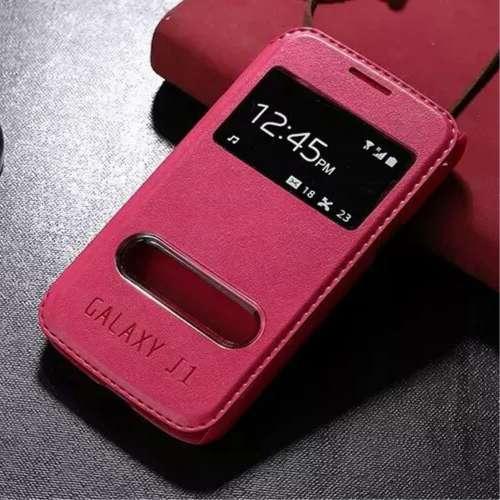 Samsung Galaxy J1 Hoesje Roze met Venster,direct op te nemen!