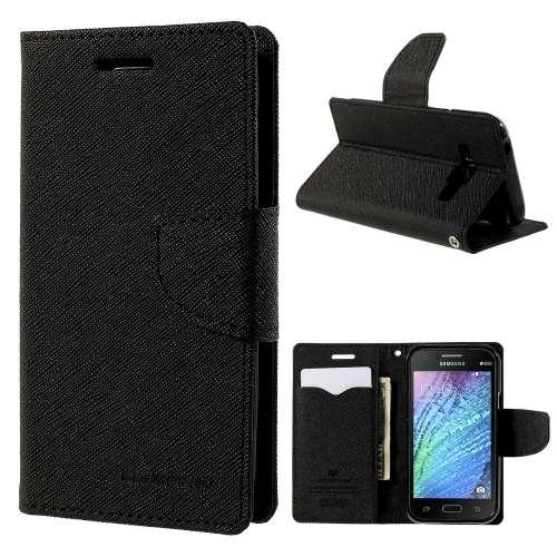 Samsung Galaxy J1 Hoesje Zwart met Opbergvakjes J100