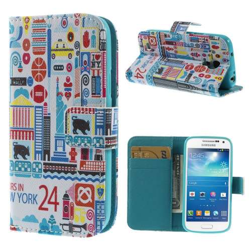 Samsung Galaxy S4 Mini Hoesje New York met Opbergvakjes