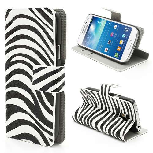Samsung Galaxy S4 Mini i9190 Wallet Stand Case Zebra