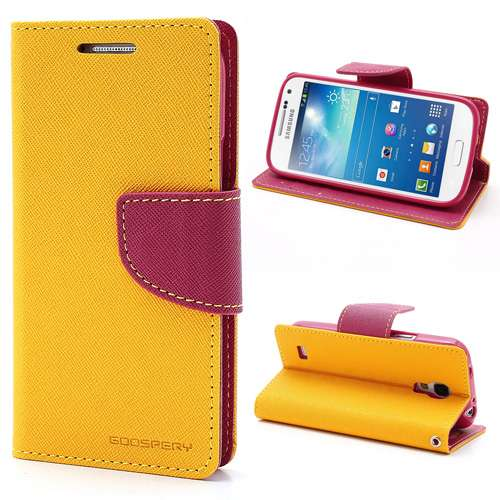 Samsung Galaxy S4 Mini Mercury Wallet Stand Case Geel