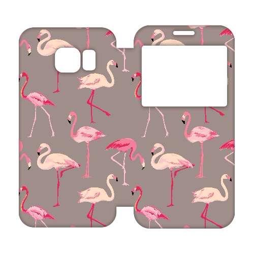 Samsung Galaxy S6 Egde Uniek Hoesje Flamingo's
