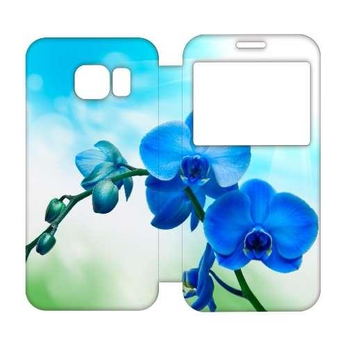 Samsung Galaxy S6 Edge Uniek Hoesje Orchidee Blauw