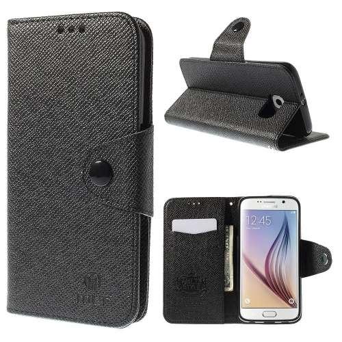 Samsung Galaxy S6 Hoesje Zwart met Opbergvakjes