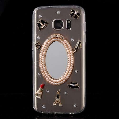 Samsung Galaxy S7 Hoesje Transparant, Zwart met Spiegel, G930