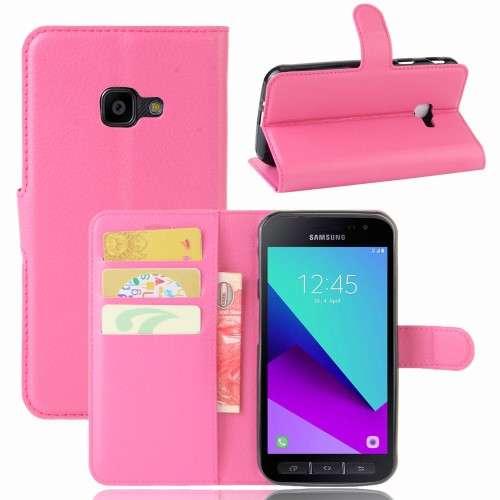 Samsung Galaxy Xcover 4 Hoesje Roze met Opbergvakjes
