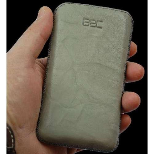 Samsung S3350 CHAT Lederen Hoesje Met Strap Grijs