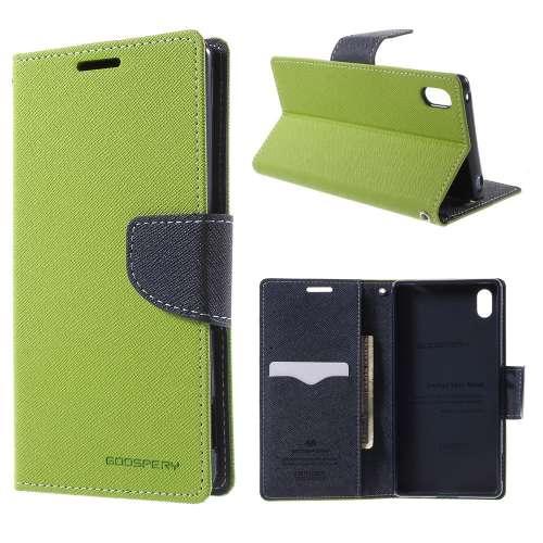 Sony Xperia Z3 Plus Hoesje Groen-Blauw (met opbergvakjes!)