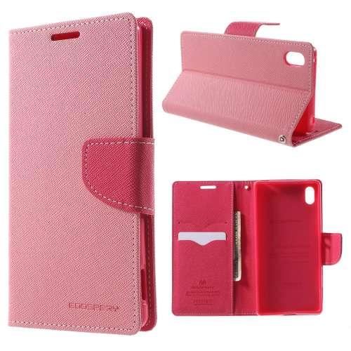 Sony Xperia Z3 Plus Hoesje Lichtroze-Roze (met opbergvakjes!)
