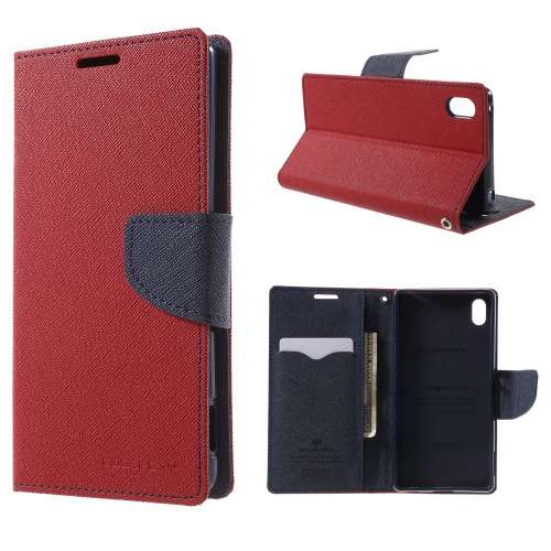 Sony Xperia Z3 Plus Hoesje Rood-Blauw (met opbergvakjes!)