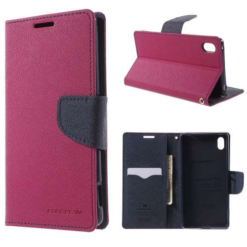 Sony Xperia Z3 Plus Hoesje Roze-Blauw (met opbergvakjes!)