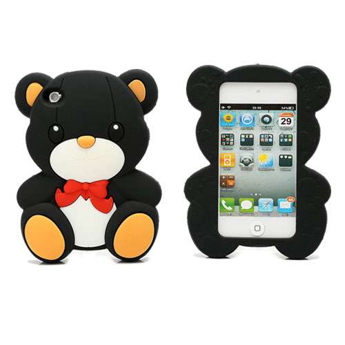 Teddy Bear Silicone Case voor Apple iPod Touch 4 Zwart
